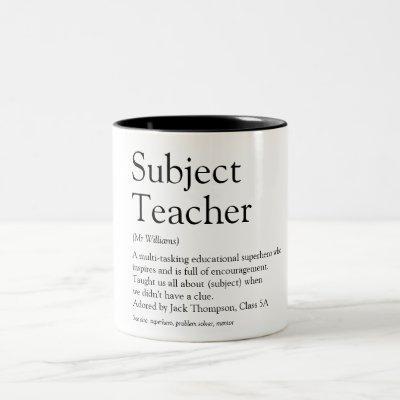 World's Best Ever Teacher Definition Two-Tone Coffee Mug