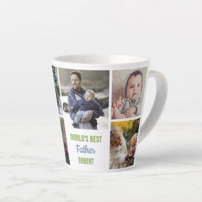 World's Best Father Instagram Photo Collage Name Latte Mug