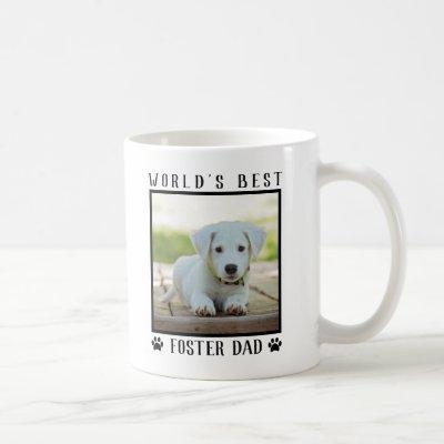 World's Best Foster Dad Paw Prints Pet Photo Frame Coffee Mug