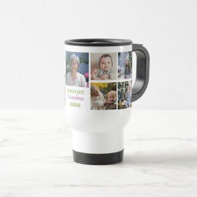 World's Best Grandma Instagram Photo Collage Name Travel Mug