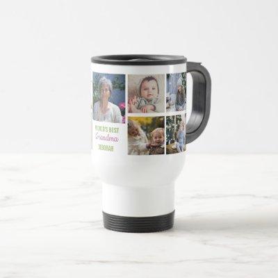World's Best Grandma Instagram Photo Collage Name Travel Mug