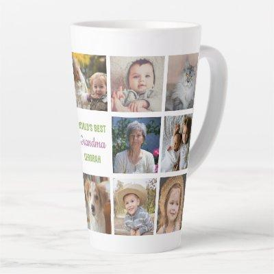 World's Best Grandma Name Instagram Photo Collage Latte Mug