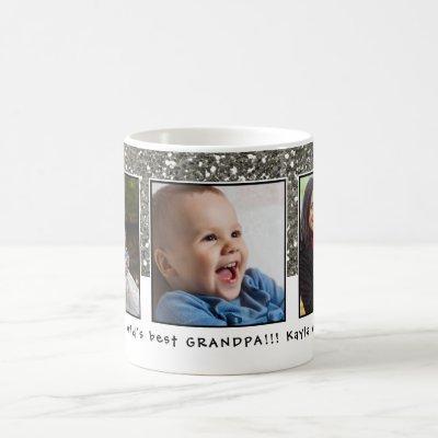 World's Best Grandpa 3 Photo Collage Custom Name Coffee Mug