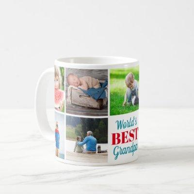 World's Best Grandpa Grandkids 9 Photo Collage Coffee Mug