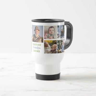 World's Best Grandpa Instagram Photo Collage Name Travel Mug