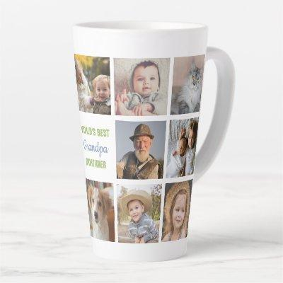 World's Best Grandpa Name Instagram Photo Collage Latte Mug