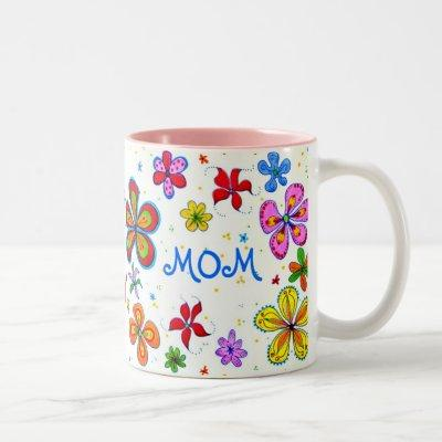 World's Best Mom Illustrated Two-Tone Coffee Mug