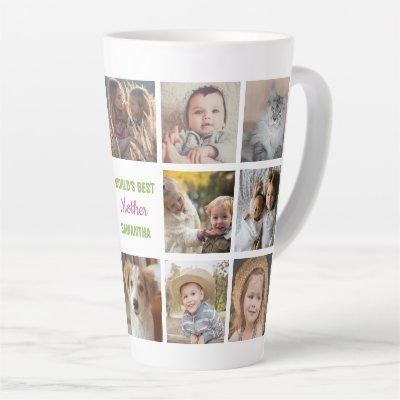 World's Best Mother Name Instagram Photo Collage Latte Mug