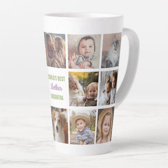 World's Best Mother Name Instagram Photo Collage Latte Mug