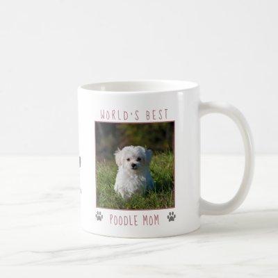 World's Best Poodle Mom Pink Gray Paw Prints Photo Coffee Mug