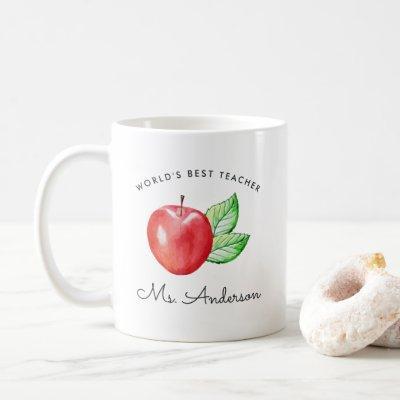 World's Best Teacher   Personalized Apple Coffee Mug