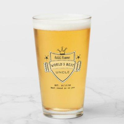 World's Best UNCLE Personalized BEER PINT GLASS