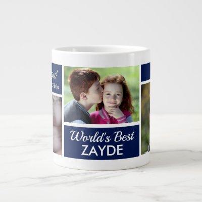 World's Best Zayde Photo Collage Giant Coffee Mug
