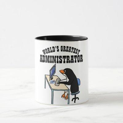 Worlds Greatest ADMINISTRATOR ADMIN Gifts Penguin Mug