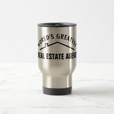 Worlds Greatest Real Estate Agent steel travel mug