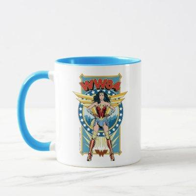 WW84 | Retro Comic Wonder Woman Character Badge Mug