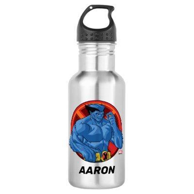 X-Men   Beast Character Badge Stainless Steel Water Bottle