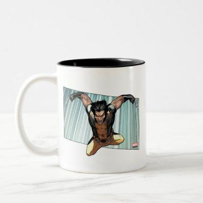 X-Men   Wolverine Leaping Down Comic Panel Two-Tone Coffee Mug