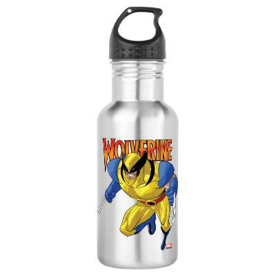 X-Men | Wolverine Running Into A Fight Stainless Steel Water Bottle