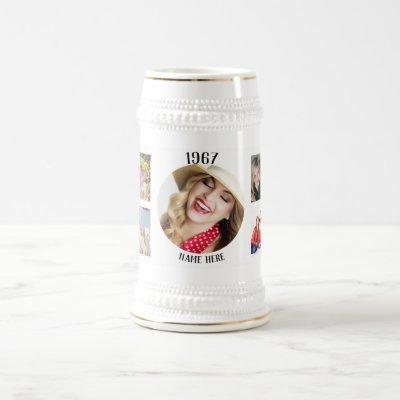 Year Born Photo Collage Instagram Personalized ANY Beer Stein