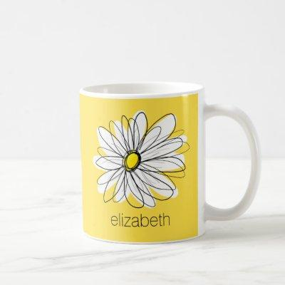 Yellow and White Whimsical Daisy with Custom Text Coffee Mug