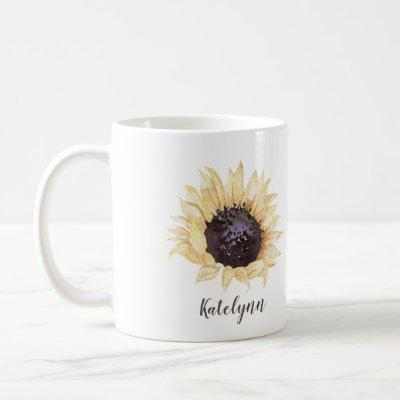 Yellow & Brown Sunflower Personalized Coffee Mug