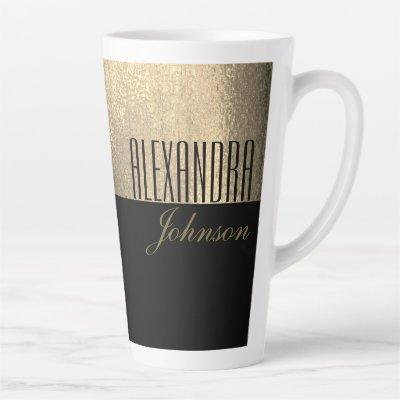 Yellow Gold and Black Luxury Modern Name Latte Mug