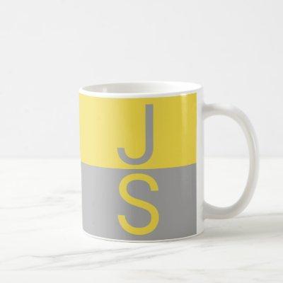 Yellow & Grey Modern Initials Monogram Coffee Mug
