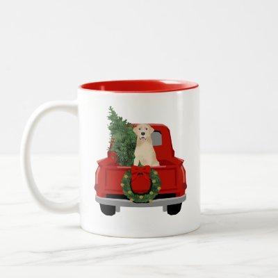 Yellow Labrador Christmas Truck Two-Tone Coffee Mug
