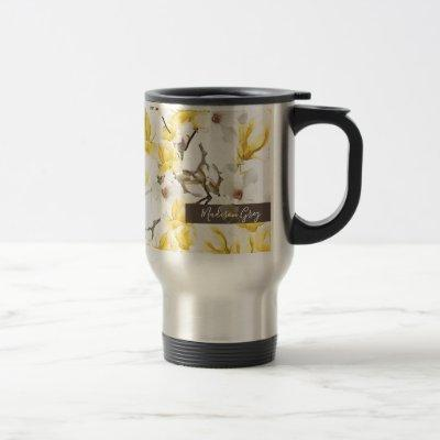 Yellow & White Magnolia Blossom Watercolor Pattern Travel Mug