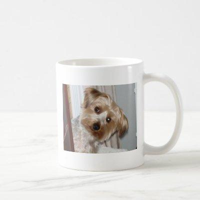 Yorkie Peeking Around the Corner Coffee Mug