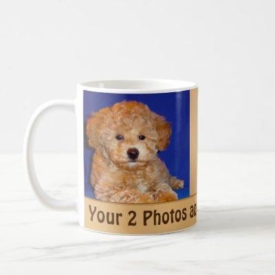 Your 2 Photos and Text Personalized Coffee Mugs