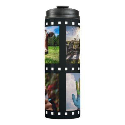 YOUR 4 PHOTOS in a film strip custom tumbler
