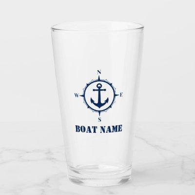 Your Boat Name Navy Blue Compass Anchor Glass
