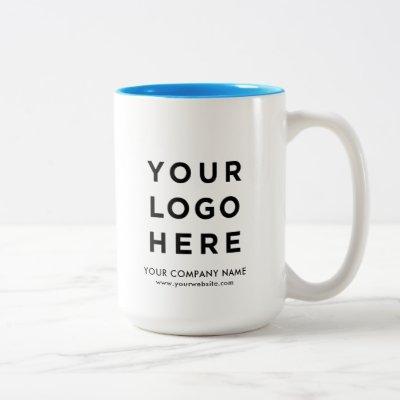 Your Business Logo Light Blue large 15oz Two-Tone Coffee Mug
