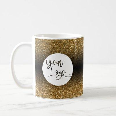 Your Corporate Logo, Gold and Black Ombre Coffee Mug