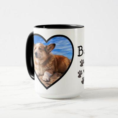 Your Dog Photo & Simple Heart Frame Paw Print Love Mug