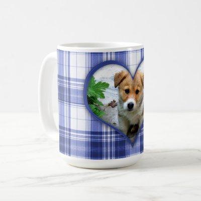 Your Favorite Pet in a Blue Heart on Blue Plaid Coffee Mug