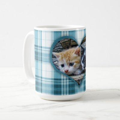 Your Favorite Pet or Person on Turquoise Plaid Coffee Mug