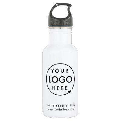 Your Logo   Business Corporate Modern Minimalist Stainless Steel Water Bottle