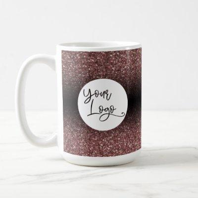 Your Logo Over Dark Rose Gold and Black Ombre Coffee Mug