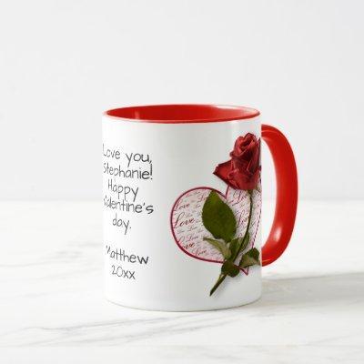 Your Message  Red Rose Photo Valentine Mug