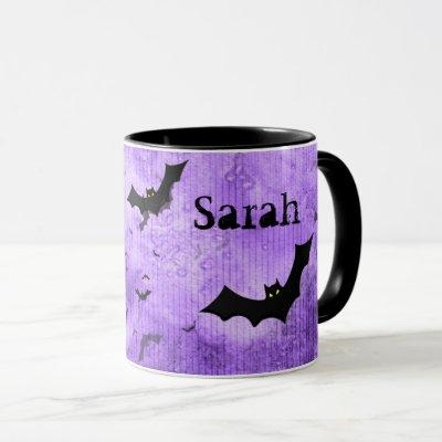 Your Name: Halloween Bats Purple Grunge BG Mug