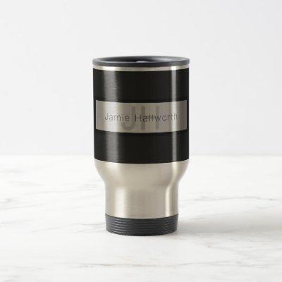 Your Name & Monogram | Greys & Faux Silver Look Travel Mug