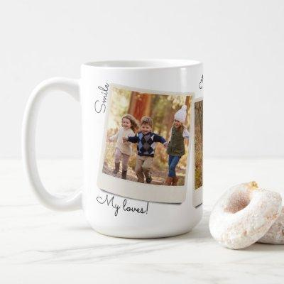 Your Own Three Images Vintage Instant Photo Frame Coffee Mug