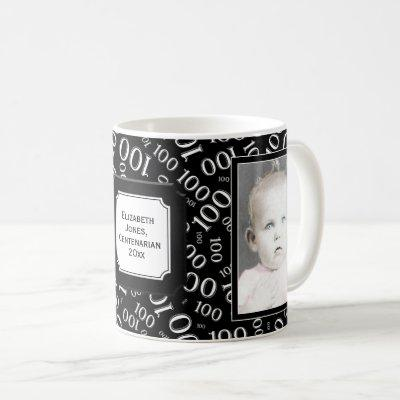 Your Photo 100th Birthday Black Number Pattern Coffee Mug