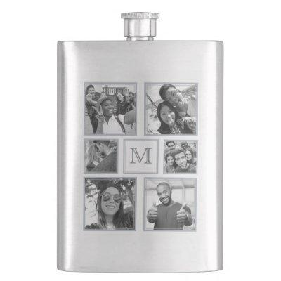 YOUR PHOTOS turn B & W custom monogram flask